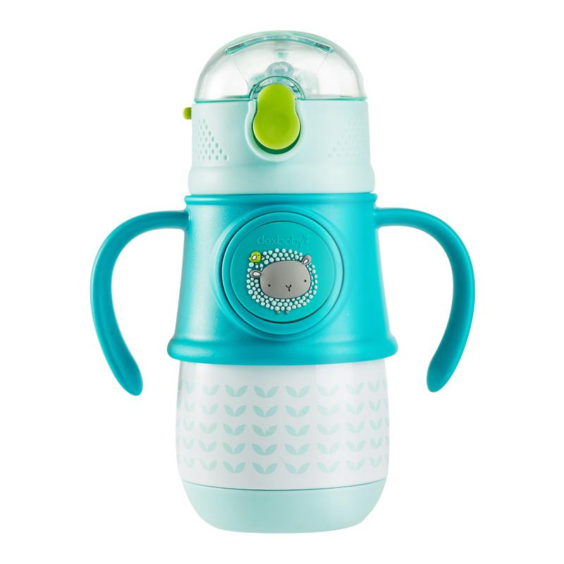 dexbaby儿童保温杯带吸管防摔宝宝重力球水杯婴儿学饮杯手柄水壶