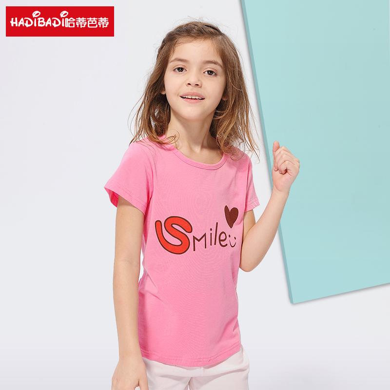 童装女上衣女童洋气宝宝夏装2018新款短袖宽松印花t恤女韩范潮衣