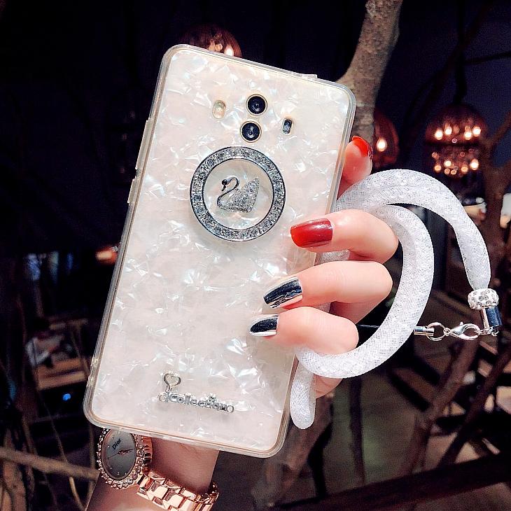 水钻天鹅华为mate10手机壳带挂绳硅胶奢华潮牌mate9pro软壳女新款