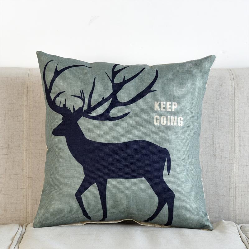 北欧风格棉麻抱枕家用腰靠枕腰垫现代简约客厅沙发亚麻鹿靠垫含芯