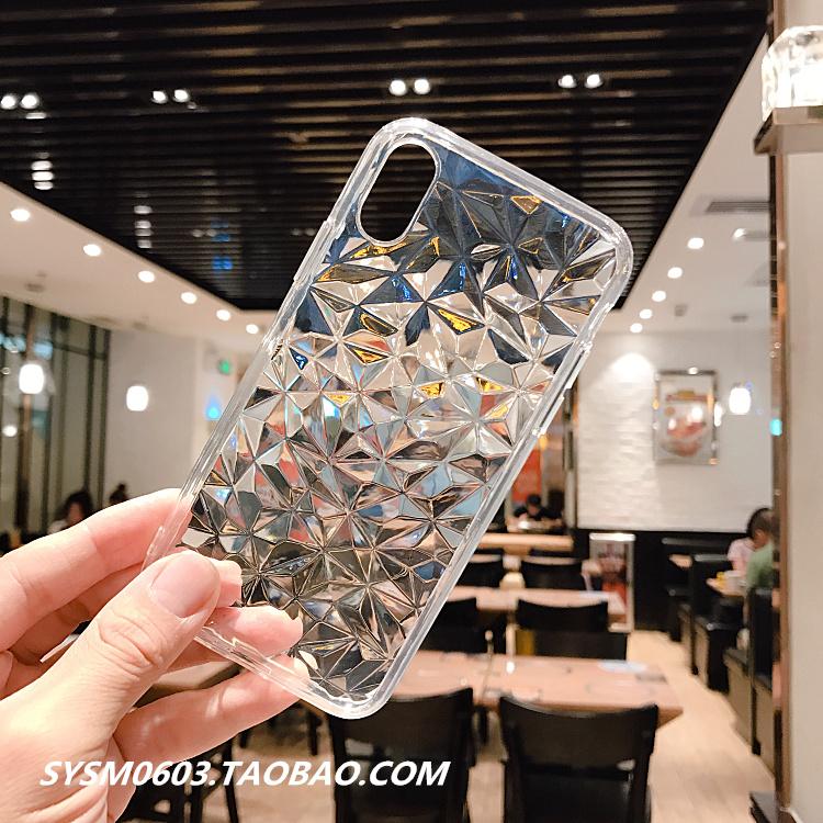 透明菱格纹iPhoneX手机壳6s软壳7plus防摔XSmax全包6简约8保护套