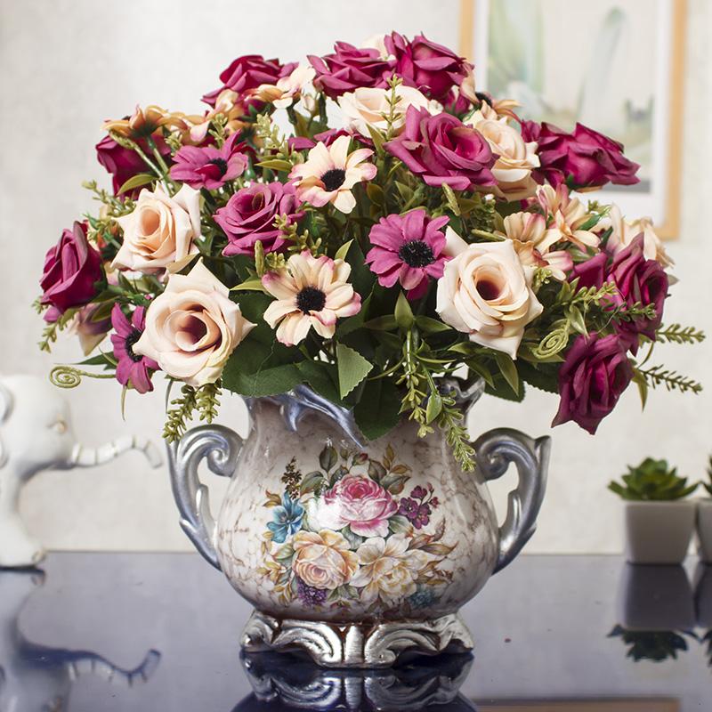 客厅摆设 假花装饰 餐桌仿真摆花家居创意摆件品室内房间桌子饰品