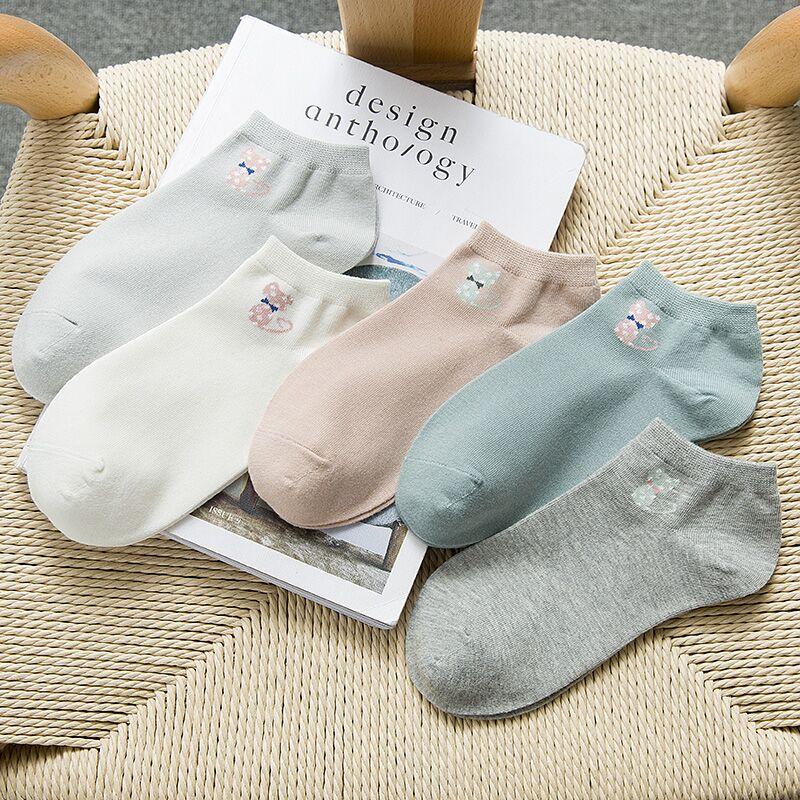 袜子女士短袜四季休闲船袜春秋薄款学生袜纯色浅口防臭棉袜隐形袜