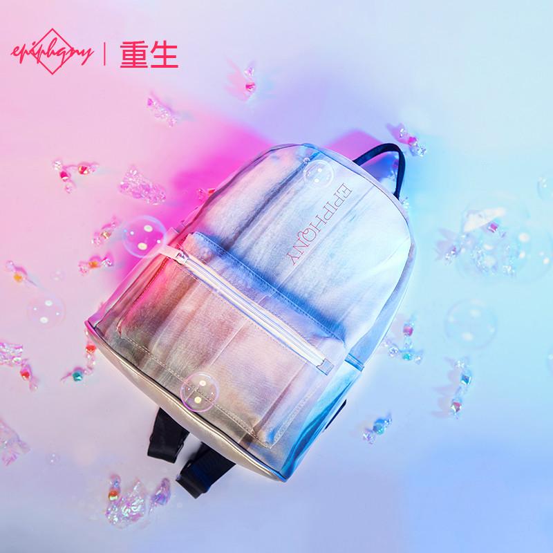 epiphqny重生韩版学生2018新款小款书包小清新pu印花时尚双肩包女