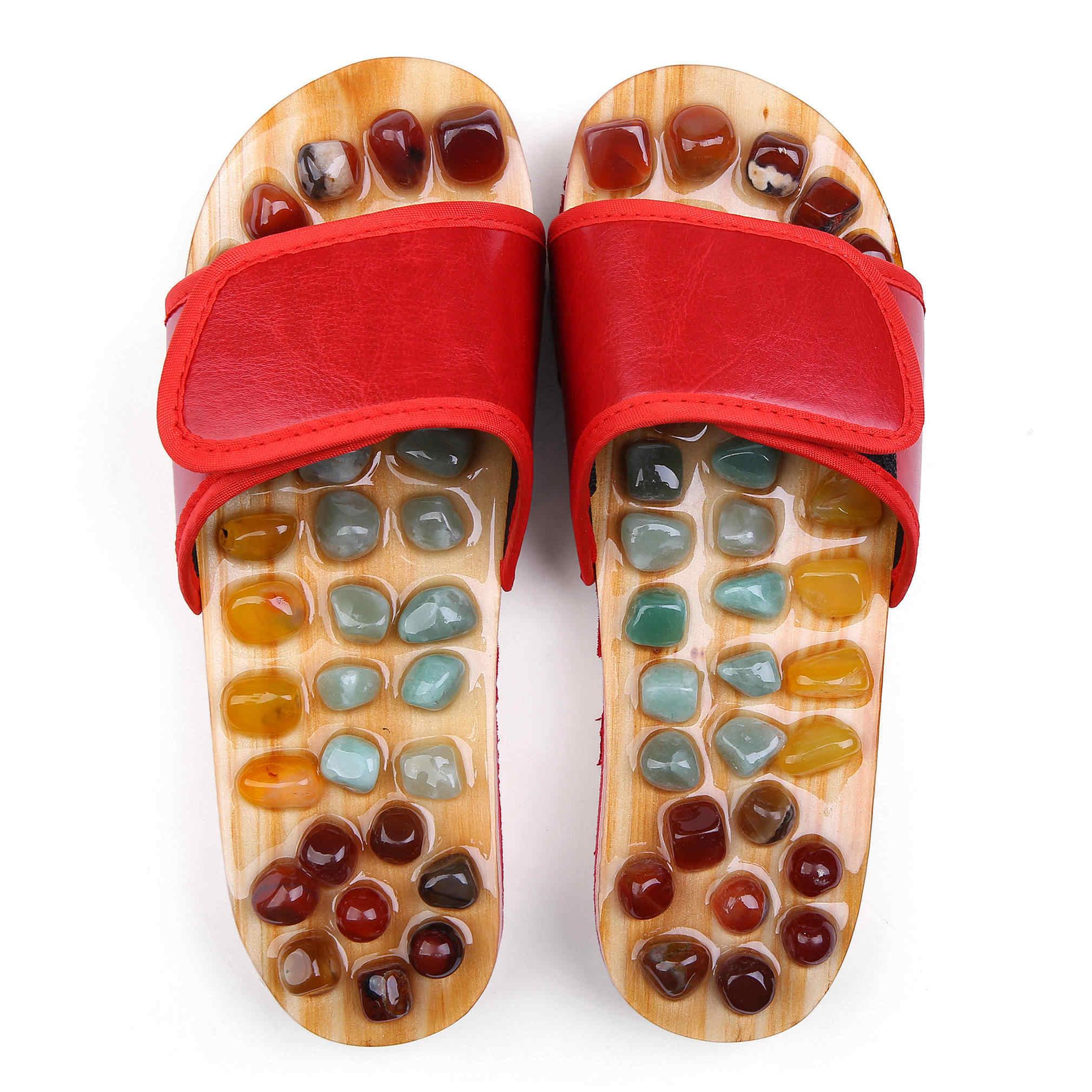 居家鹅卵石按摩拖鞋足底穴位足疗鞋男防滑家用家居凉拖鞋女夏室内