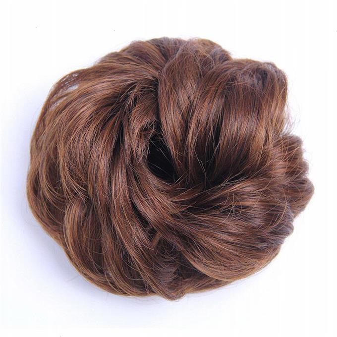 假发女发圈丸子头饰品花苞头盘发发饰 皮筋头绳自然蓬松短卷发圈