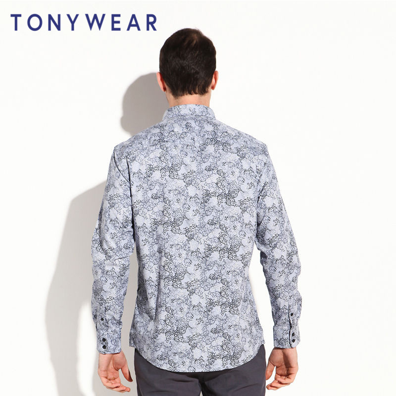 特价TONY WEAR汤尼威尔男商务休闲全棉印花府绸衬衣长袖衬衫包邮