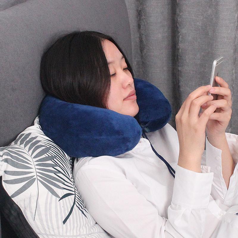 u型枕记忆棉坐车飞机旅行护颈枕成人学生U形午睡枕便携护脖子头枕