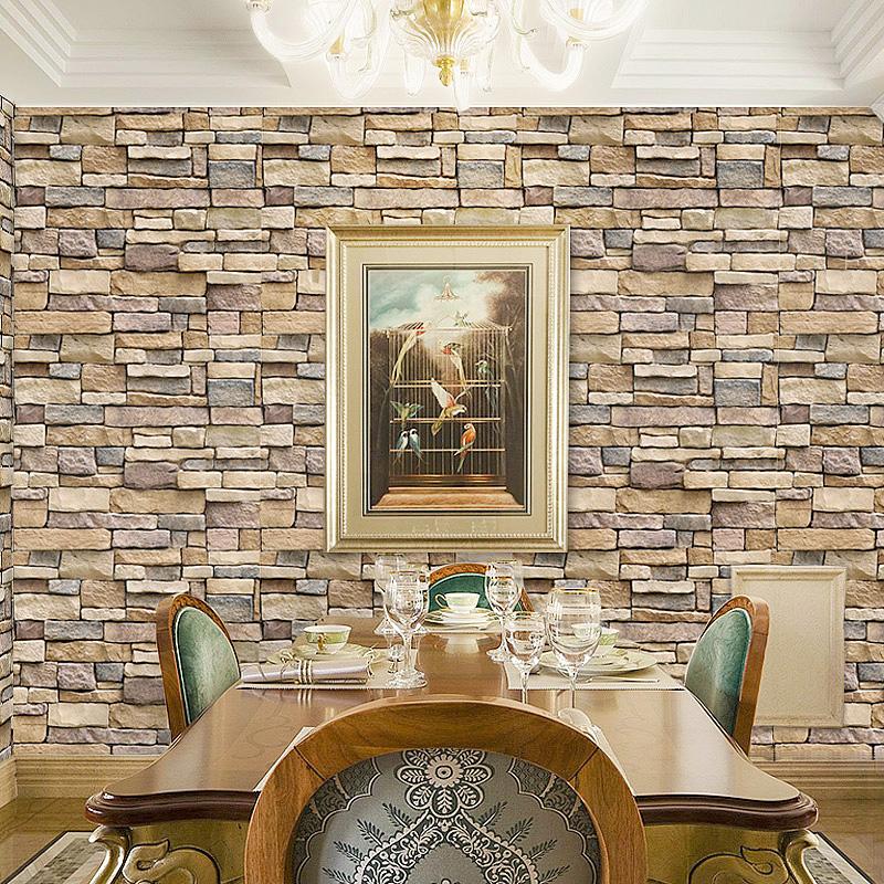 3D立体防水自粘墙纸餐厅个性贴画装饰自贴壁纸客厅背景墙贴纸10米