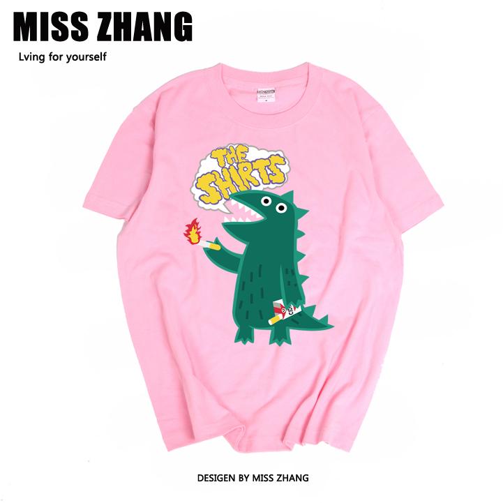 韩版日系复古简约港风潮恐龙TEE宽松大码纯棉情侣闺蜜休闲短袖T恤