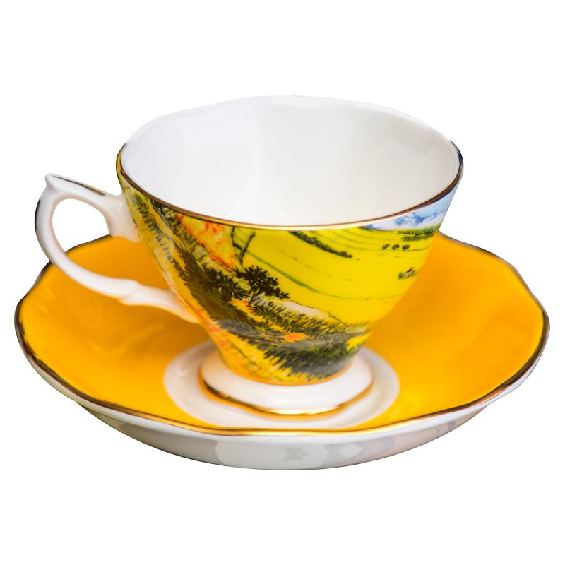 欧式金边骨瓷咖啡杯小奢华梵高星空陶瓷杯简约创意下午花茶杯带勺