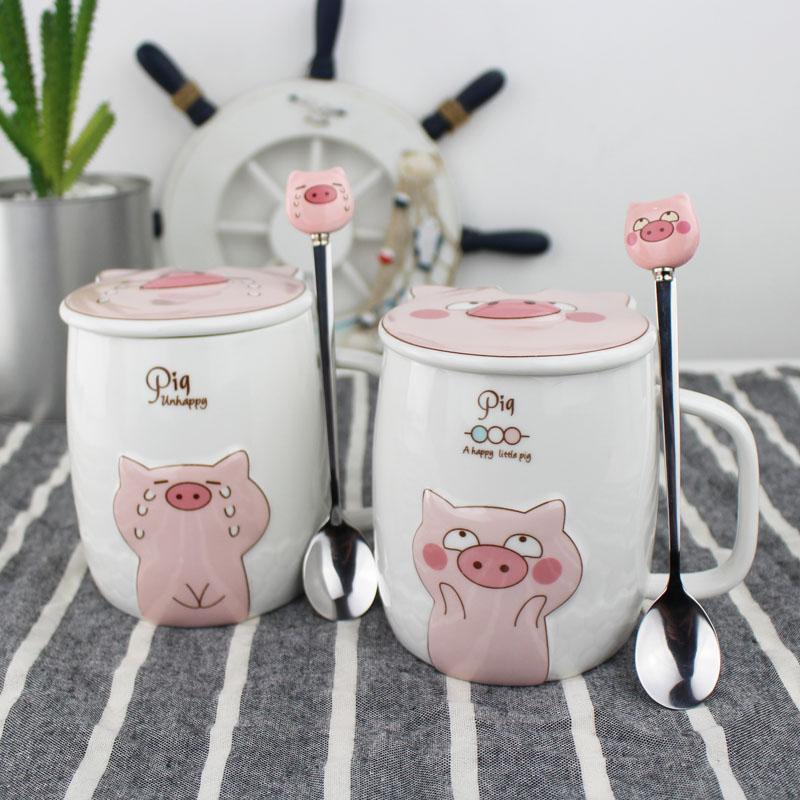情侣杯子一对创意可爱小猪马克杯粉色少女心卡通陶瓷杯带盖勺水杯