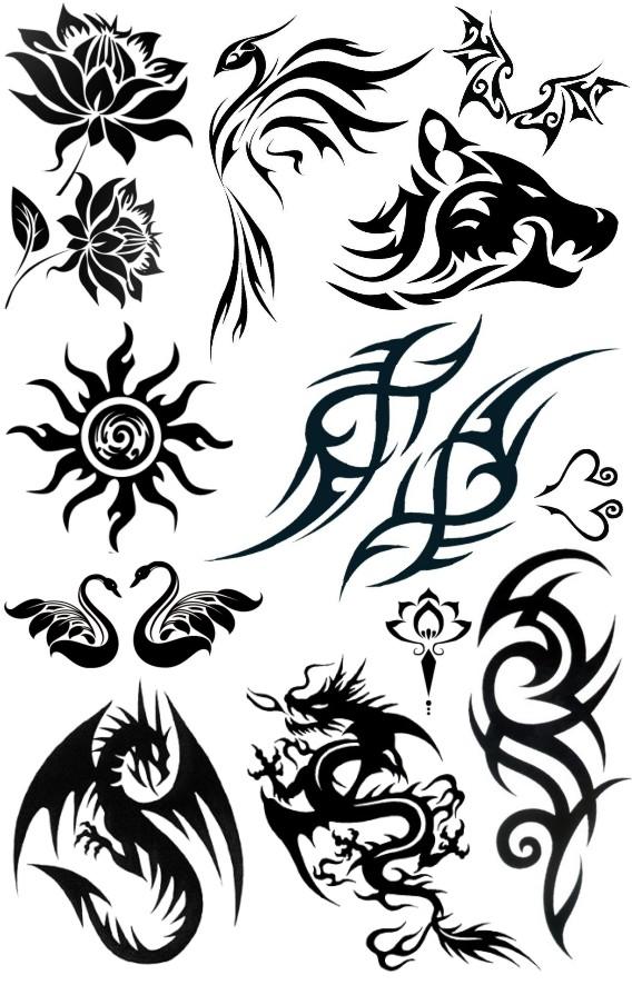图腾纹身贴 龙 狼头 花纹 翅膀 男款霸气花臂 黑色 刺青 防水持久