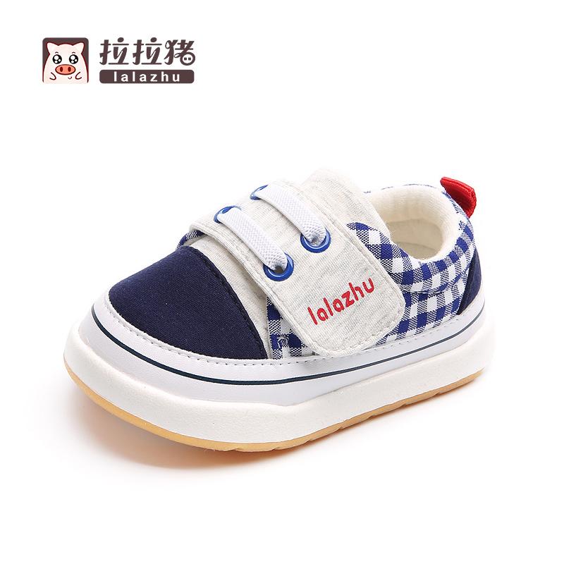 拉拉猪秋冬季宝宝学步鞋婴儿幼儿男防滑软底女小童布鞋子0-1-3岁2