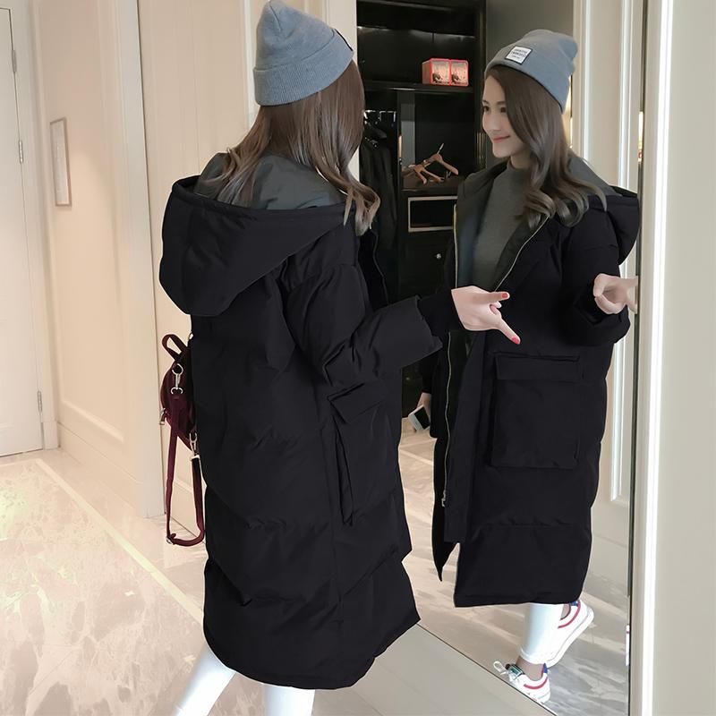 冬季羽绒棉服女中长款加厚棉袄2018新款韩版学生宽松显瘦棉衣外套