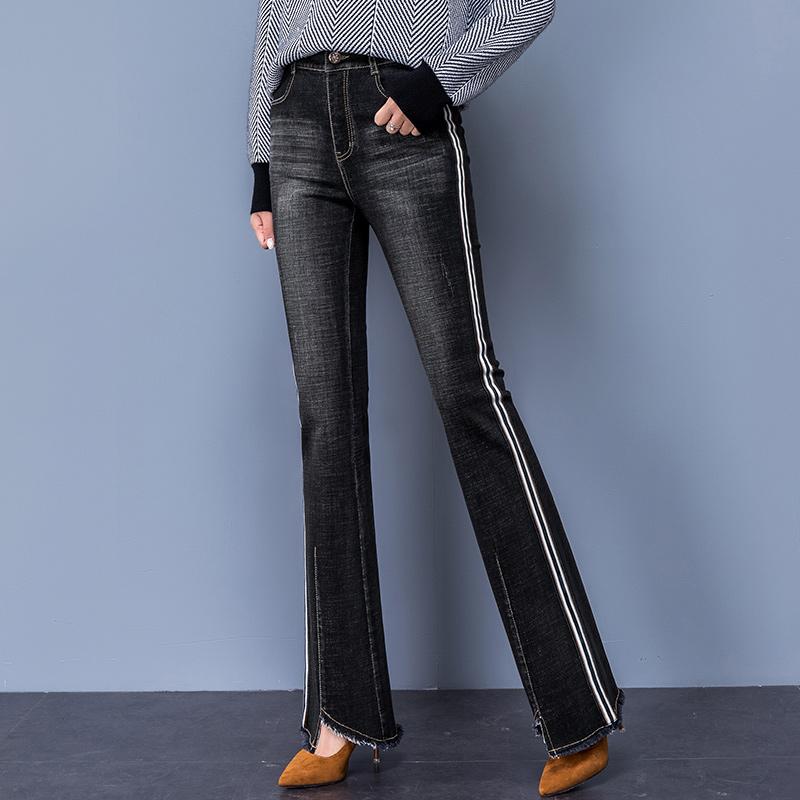 黑色微喇叭牛仔裤女2018秋季新款高腰韩版直筒长裤修身显瘦铅笔裤