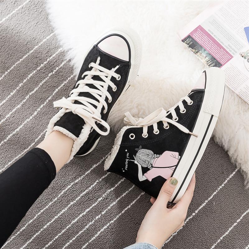 潮鞋韩版学生鞋子女秋冬百搭板鞋 2019 二棉鞋女高帮加绒保暖帆布鞋