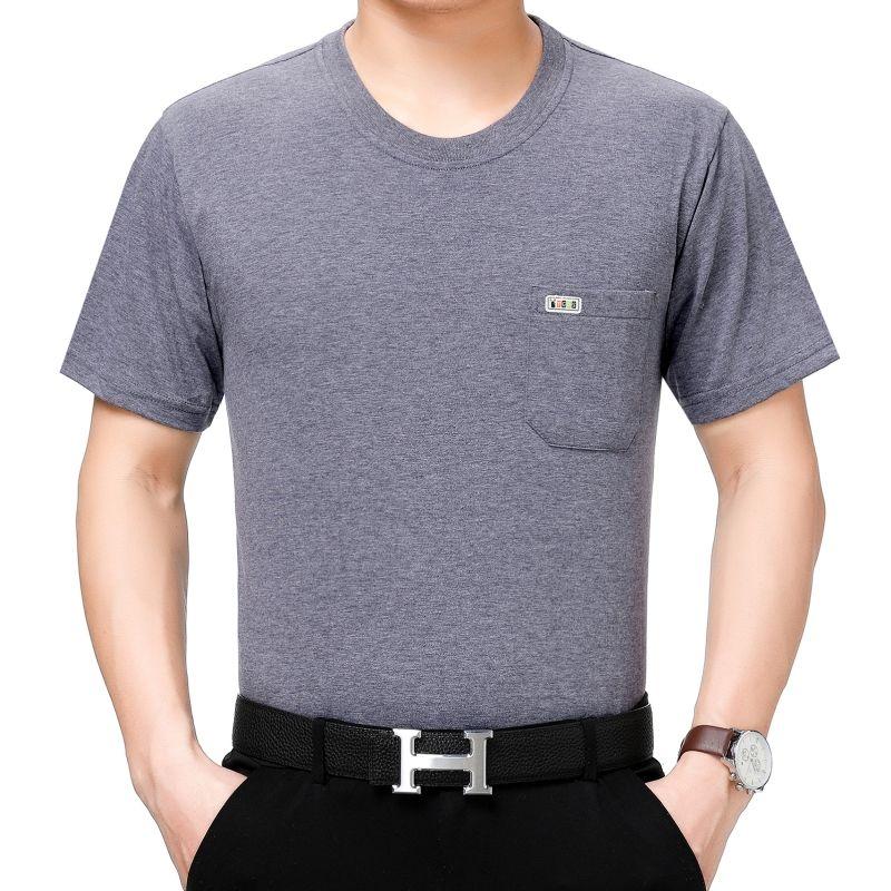77中年男士短袖T恤圆领棉涤宽松中老年人装汗衫夏季半袖有口袋