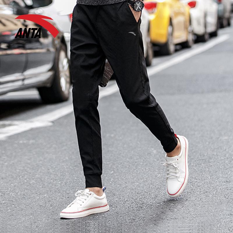 安踏运动裤加绒加厚男裤2018春季新款小脚束脚长裤子修身卫裤男