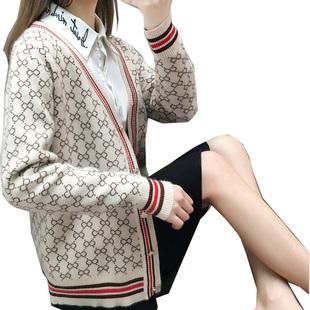 魔袖针织开衫外套女2021新款韩版百搭宽松单排扣V领外搭爆款毛衣