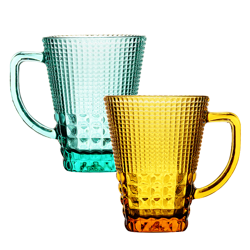 彦雅轩欧式彩色玻璃杯子家用带把喝水杯马克杯带盖果汁杯咖啡杯