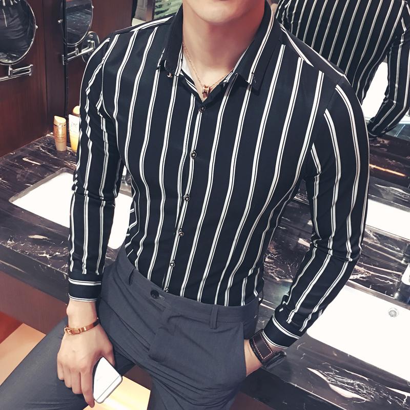 ww计划许华升同款男装时尚条纹长袖衬衫发型师青年修身大码衬衣潮