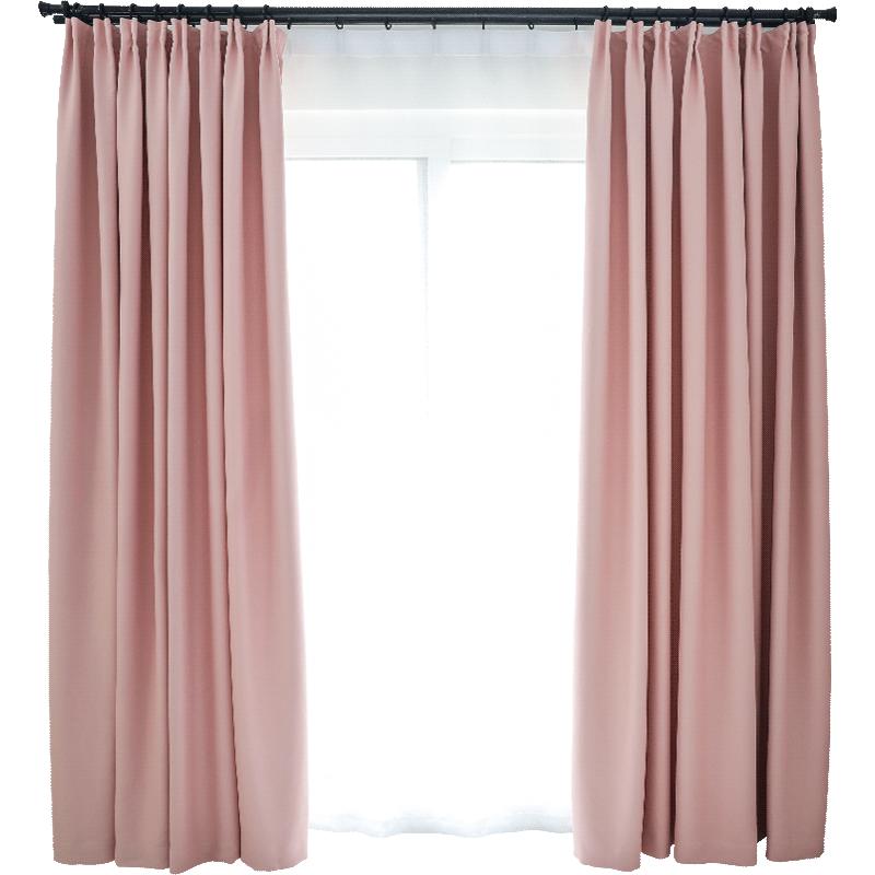 简约现代全遮光窗帘布料成品特价遮阳遮光窗帘飘窗客厅落地窗卧室