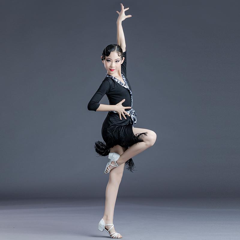 拉丁舞蹈服女儿童练功少儿专业比赛服装春夏季拉丁舞裙流苏连衣裙