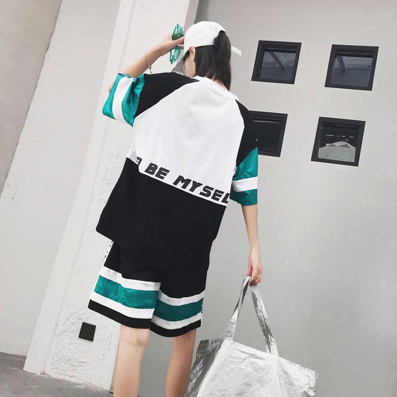 2018夏季新款蹦迪网红休闲宽松时尚嘻哈休闲帅气女装bf两件套装女
