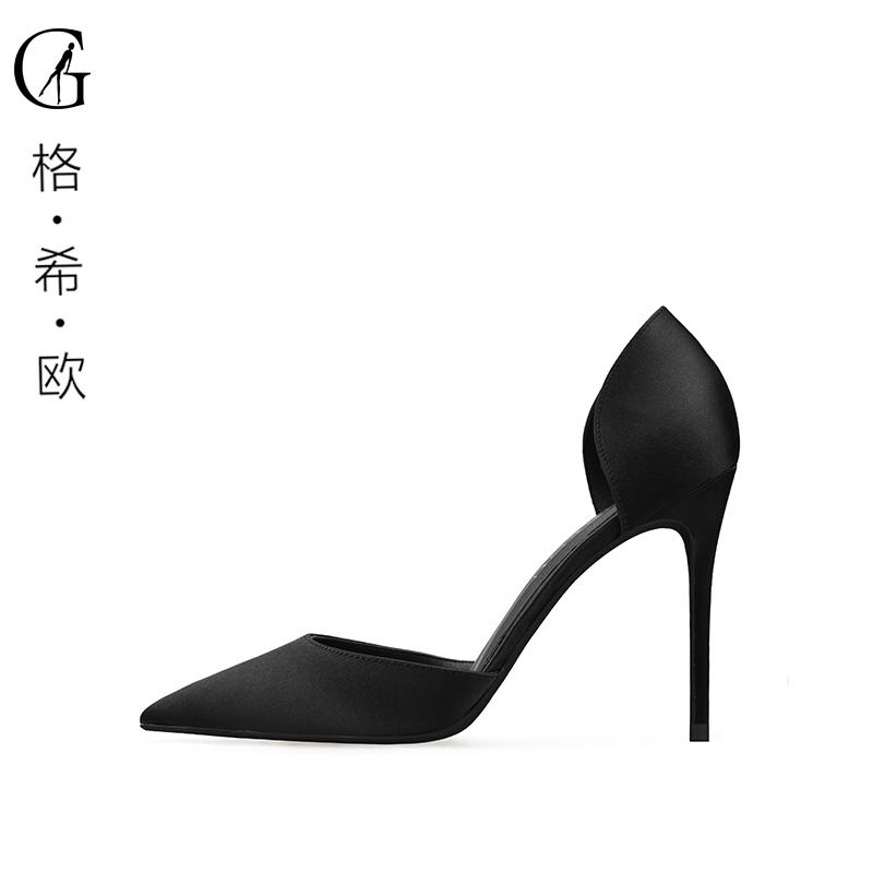 32码高跟鞋细跟绸缎大学生中空浅口时尚性感黑色尖头单鞋伴娘婚鞋