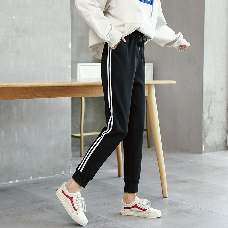 运动裤女春夏双条高腰弹性韩版新款学生宽松束脚休闲哈伦长裤子女