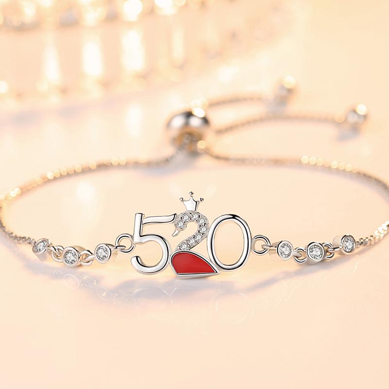 925银情侣手链女韩版简约定情信物一对纪念520情人节礼物送男女友
