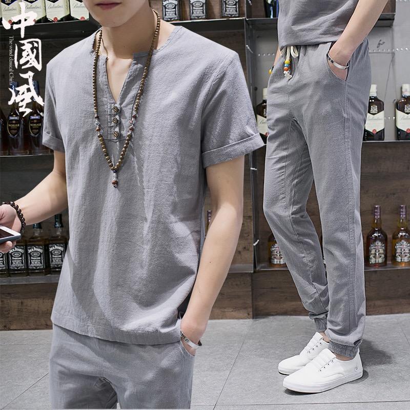 棉麻套装男亚麻两件套夏季男士短袖t恤中国风休闲男装一套衣服潮