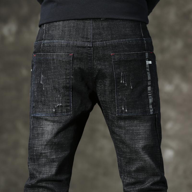 裤子男韩版潮流秋季新款男士黑色牛仔裤修身小脚弹力男生学生男裤