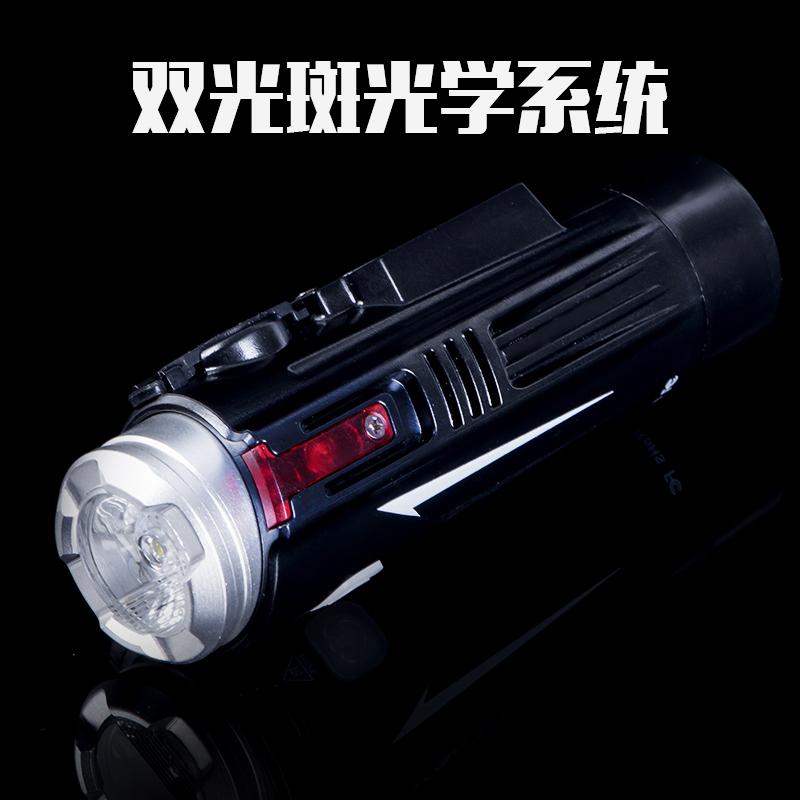 自行车前灯强光远射USB充电手电筒LED铝合金夜骑照明单配件可潜水