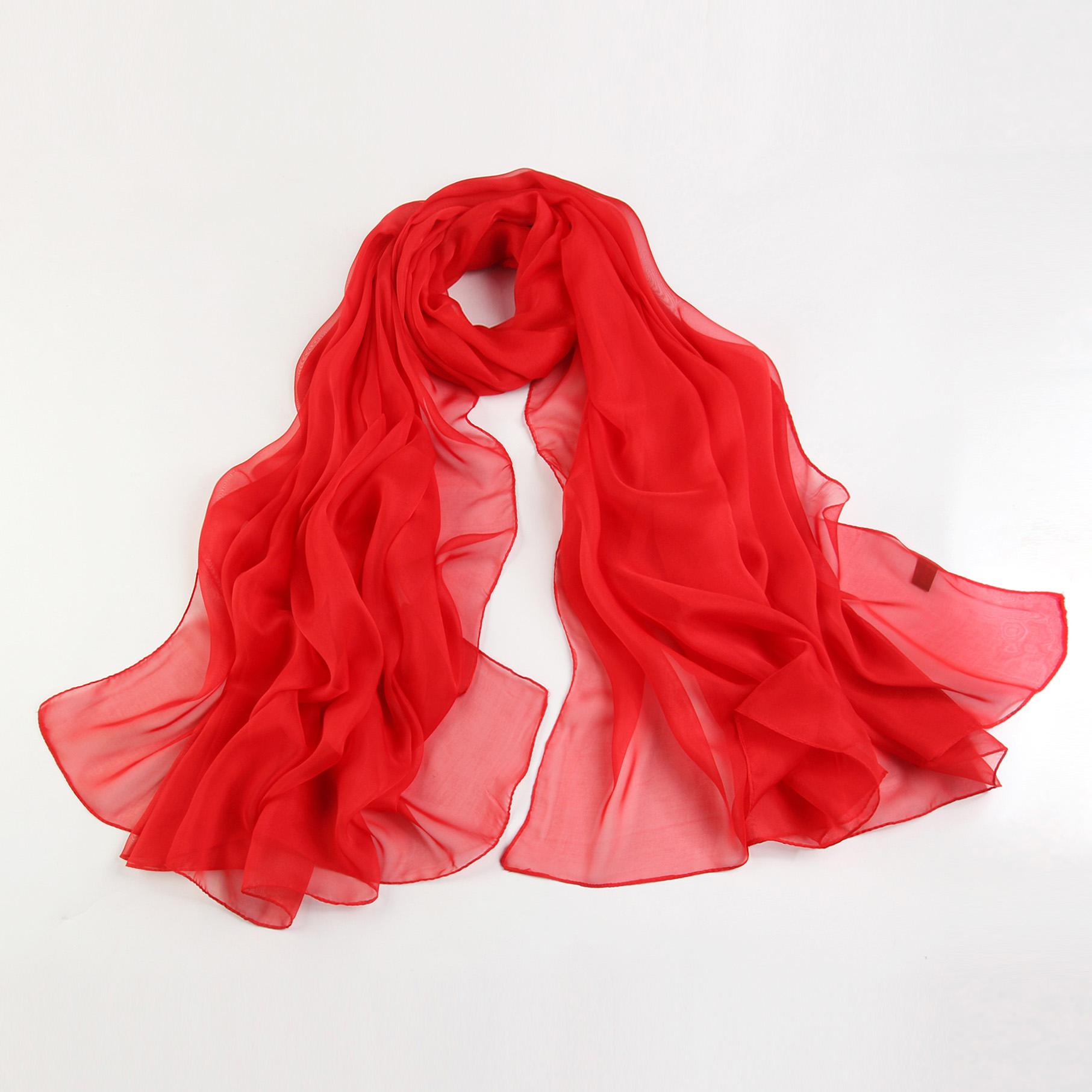 2018秋冬新款中国红色纱巾女长款多功能披肩韩版百搭丝巾外搭围巾