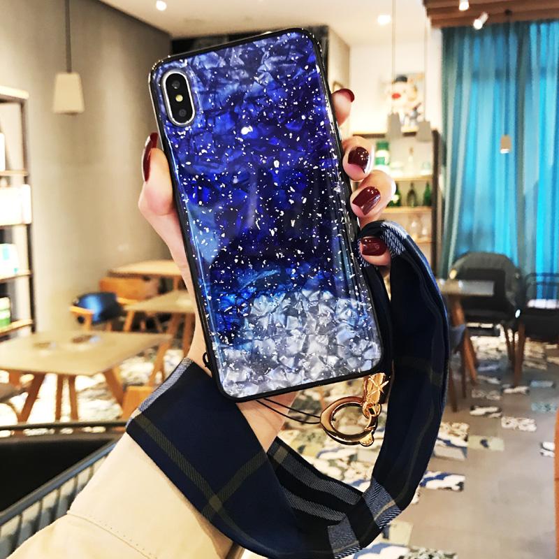 苹果xR手机壳带挂绳丝巾7plus硅胶保护套iphone6s潮女款8简约8plus全包边防摔6splus闪粉星空亮片iphonxs max
