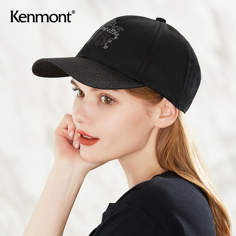 卡蒙黑色亮片刺绣帽子女韩版百搭纯色棒球帽潮时尚弯檐网红鸭舌帽