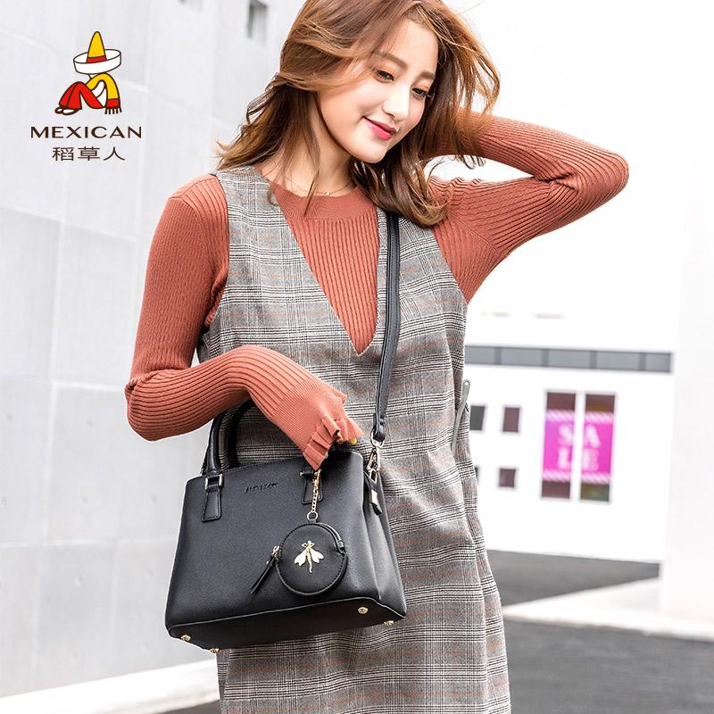 稻草人女包单肩包包2018新款女手提包韩版时尚百搭女士手拎斜挎包