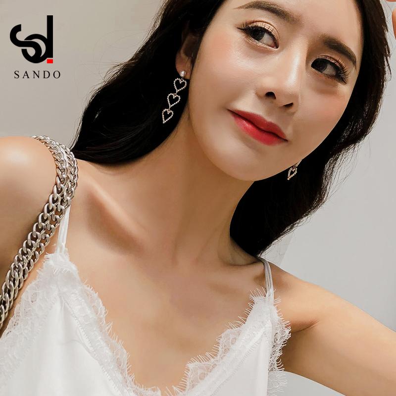韩国简约百搭气质长款仿珍珠耳坠女925纯银针小清新甜美爱心耳环