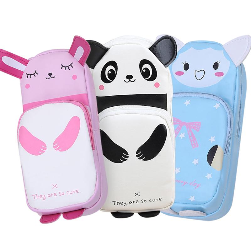 韩版卡通皮革咪兔子熊猫笔袋动物笔袋 文具盒学生用品