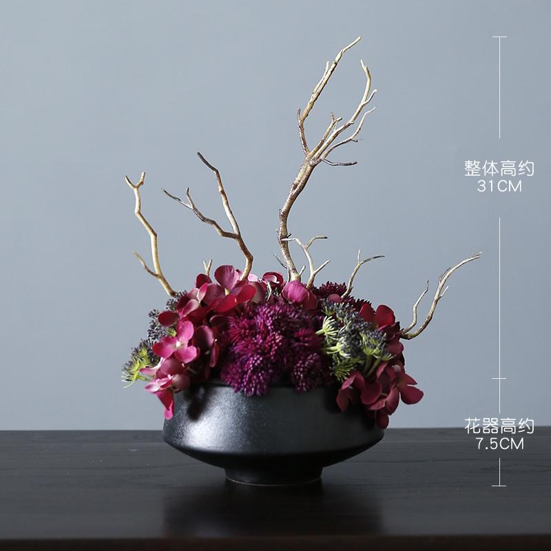 新中式高品质玄关客厅摆设假仿真花