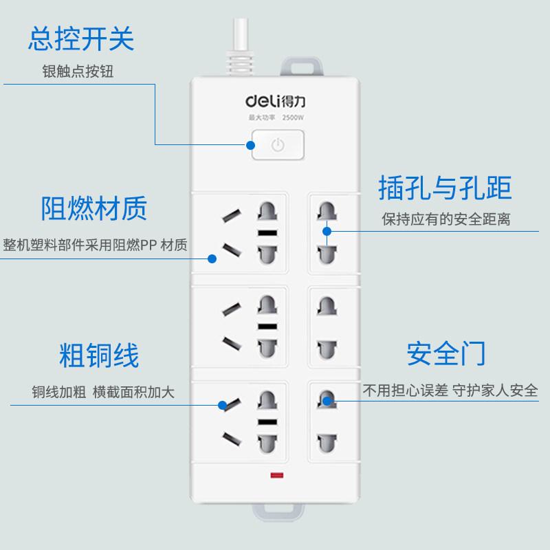 得力接线板家用多功能插座延长线插线板0/2/3/5/10米带线插板