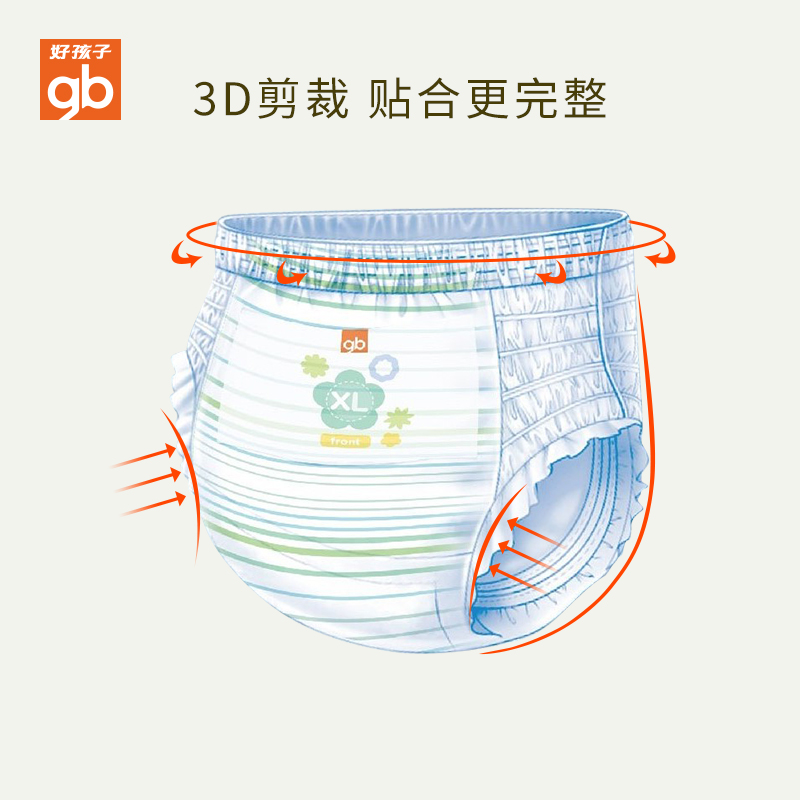 gb好孩子超薄干爽纸尿裤婴儿尿不湿超薄透气拉拉裤尿布裤铂金装XL