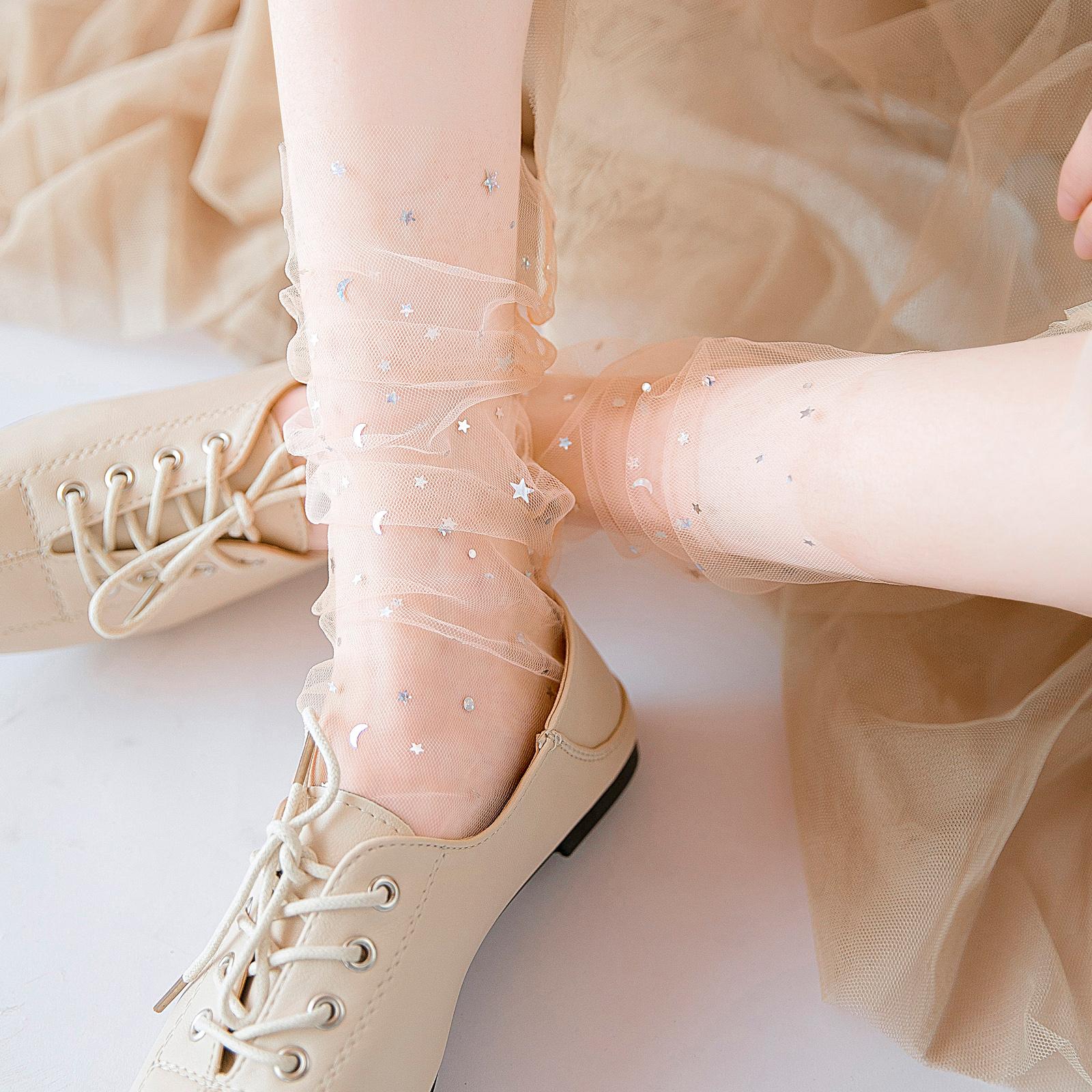 蕾丝袜子女网纱日系韩国玻璃丝中筒袜透明仙女袜薄款星星袜水晶袜