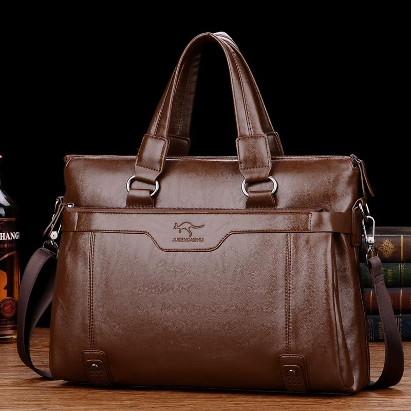 巨森袋鼠男包商务包男士手提包公文包真皮横竖款单肩包斜挎包背包