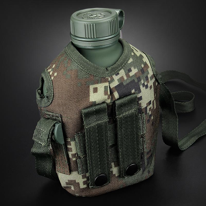 菲莱仕户外水壶钢化铝军迷彩斜挎式钢化铝易携带水壶户外必备小巧