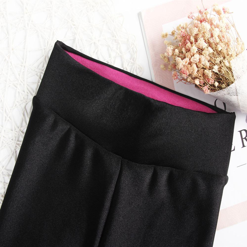高端定制高档光泽裤2019丝滑健美裤紧身打底裤女外穿高腰加肥大码