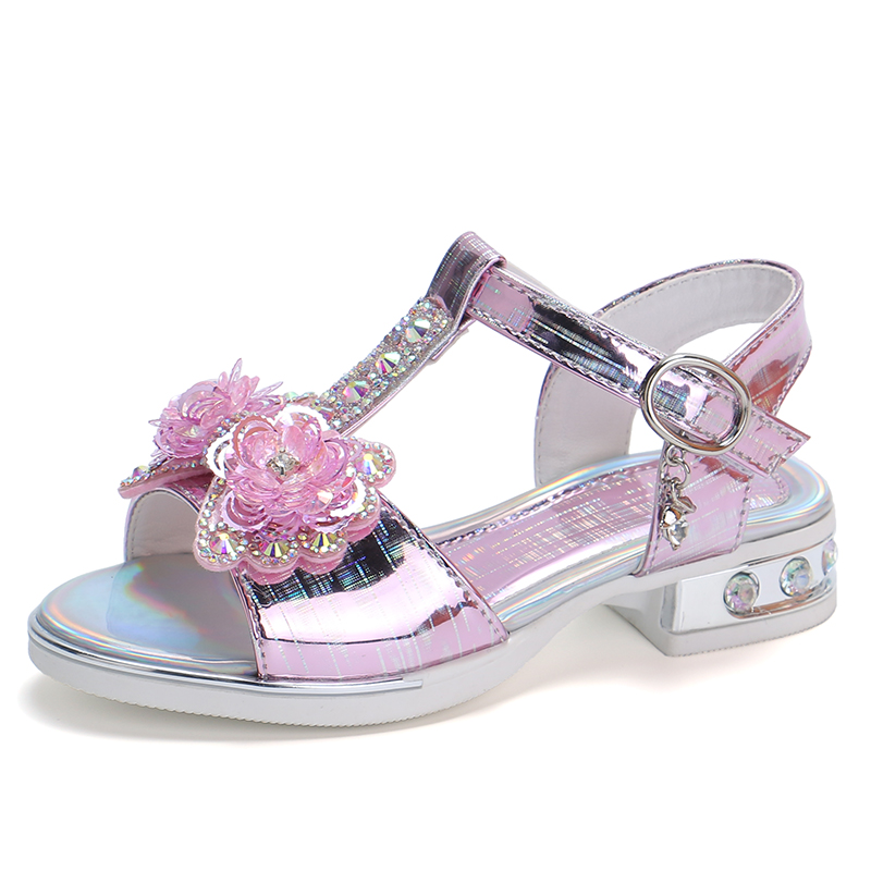 女童凉鞋2019新款韩版夏季露趾公主鞋中大童学生小高跟儿童鞋女孩