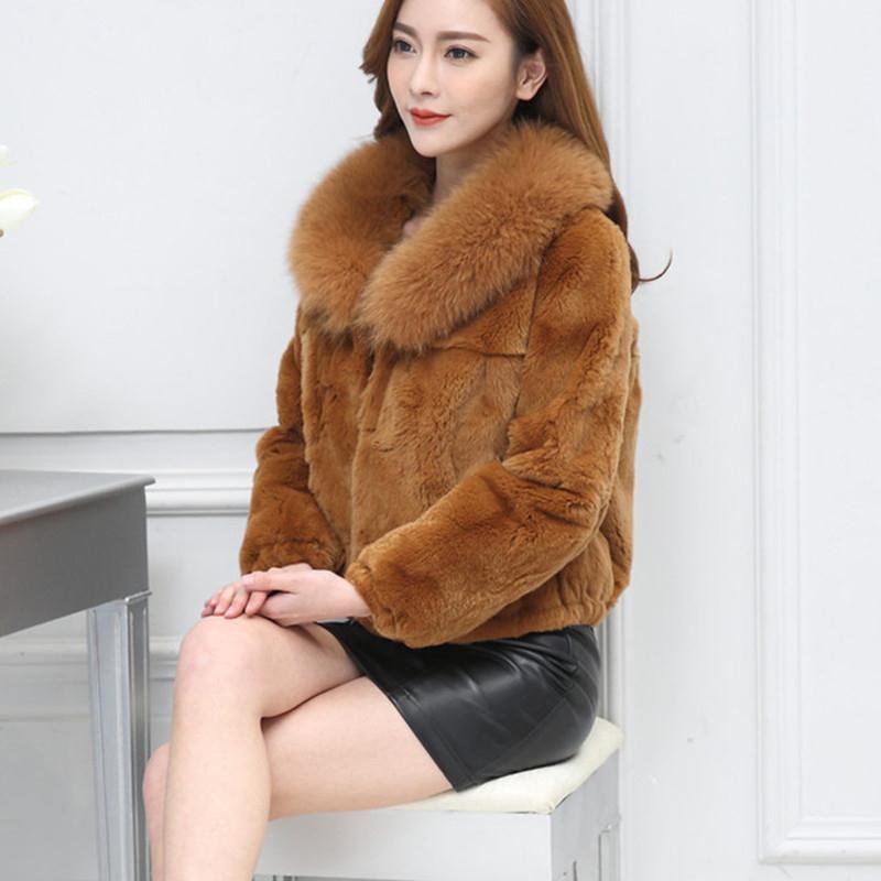 獭兔毛皮草外套女狐狸毛领短款长袖冬季新款海宁大码韩版仿獭兔毛